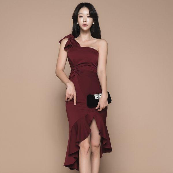 VK旗艦店 韓系修身不規則荷葉邊收腰包臀禮服無袖洋裝