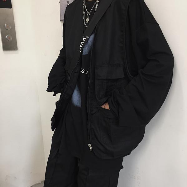馬甲男 New Boy古著定制 19ss韓國日系復古口袋工裝馬甲背心外套 男女款  曼慕