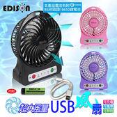 【EDISON】大風量LED照明圓形USB風扇4入 電池認證