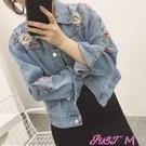 牛仔外套秋裝新款刺繡長袖牛仔短外套女韓版寬鬆學生百搭BF夾克上衣薄 JUST M