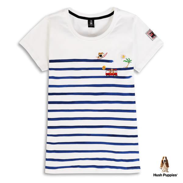 Hush Puppies T恤 女裝趣味刺繡狗印條紋短袖T恤