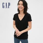 Gap女裝棉質舒適V領短袖T恤231887-純正黑色