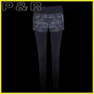 假兩件內搭褲 女士瑜伽長褲顯瘦健身運動跑步訓練九分褲假兩件大碼緊身速干迷彩 衣普菈