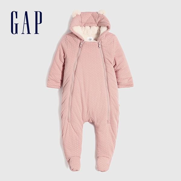 Gap嬰兒 抓絨熊耳造型連帽一體式包屁衣 599937-淡粉色