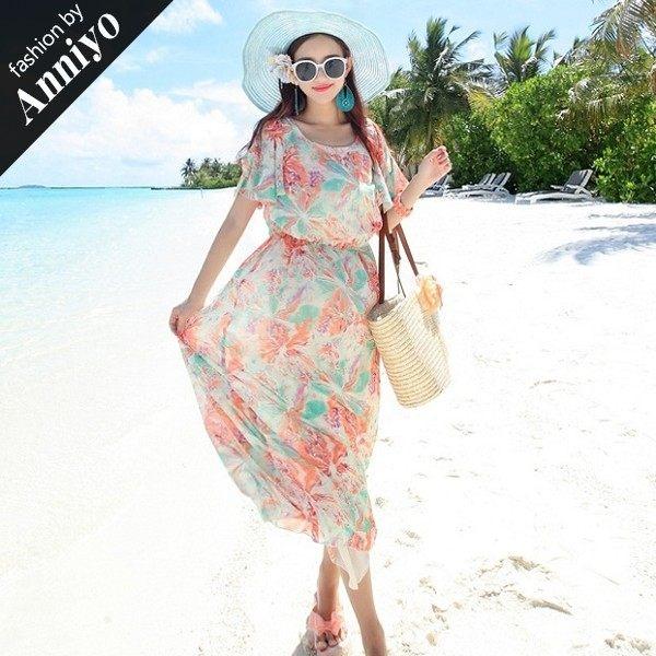 Anniyo安妞‧荷葉邊露肩波西米亞鬆緊腰海邊度假沙灘裙顯瘦印花雪紡長裙長洋裝