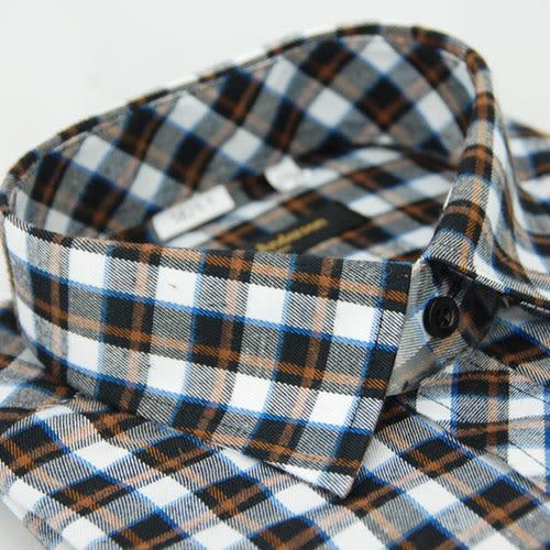 【金‧安德森】黑橘格紋保暖窄版長袖襯衫