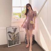 2018夏季新款高腰顯瘦連衣闊腿褲裙時尚V領蕾絲刺繡連體短褲女 雙12鉅惠 聖誕交換禮物