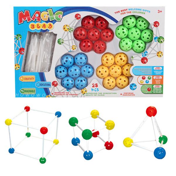 百變插珠 (28粒) 兒童串珠 拼接組合積木 立體繞珠 益智玩具 1728 好娃娃