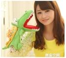 鱷魚手偶玩具嘴巴能動兒童腹語手套布偶卡通鱷魚手指玩偶毛絨娃娃 蘿莉小腳丫