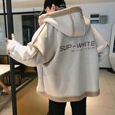 羊羔毛帥氣棉衣男士冬季裝寬鬆連帽棉服青少年韓版潮流加絨厚外套 陽光好物