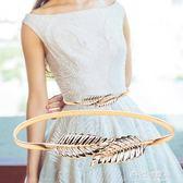 腰鍊女細裝飾時尚百搭配裙子金屬彈力鬆緊金色樹葉皮帶連衣裙腰鍊 多莉絲旗艦店
