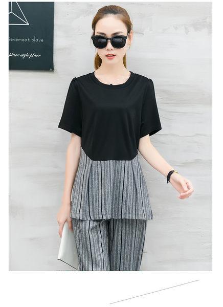 找到自己 G5 韓國時尚 拼接 條紋 上衣 七分褲 職業 套裝 棉麻 兩件套