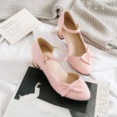 甜美側蝴蝶結元淺口粗跟高跟半包涼鞋女士包頭涼鞋大碼 蓓娜衣都