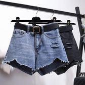 【新年鉅惠】高腰破洞牛仔短褲女韓版不規則毛邊