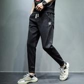 哈倫牛仔褲男士秋冬款休閒外褲子潮流寬鬆束腳潮牌小腳運動嘻哈褲