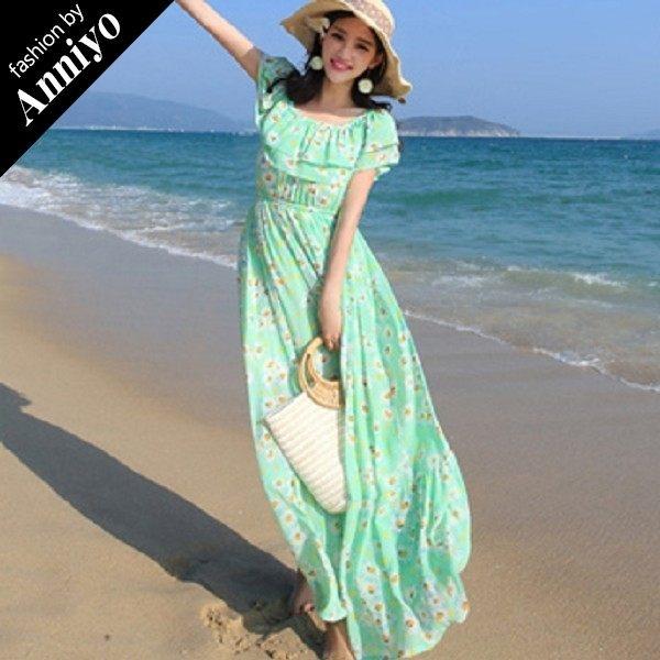 Anniyo安妞‧波西米亞一字領露肩荷葉邊多穿法裹胸印花碎花海灘度假雪紡長裙長洋裝 綠底白花