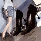2020春秋新款黑色絨面淺口單鞋女時尚百搭水鑚方扣尖頭細跟高跟鞋「時尚彩紅屋」