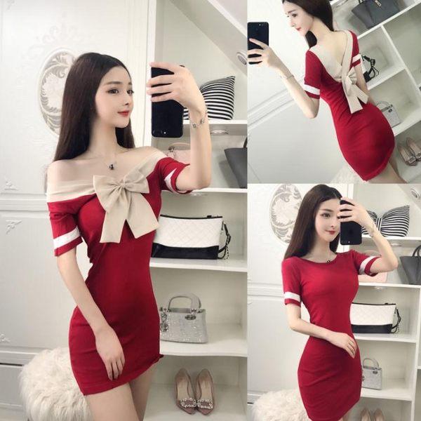 短袖洋裝韓版性感針織連身裙修身露背前后兩穿蝴蝶結包臀裙2795KT-1F-111紅粉佳人