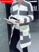 秋季男士中長款開襟毛衣男裝針織衫外套修身毛線上衣韓版潮流風衣