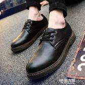 青年休閒潮鞋學生大頭英倫日系小皮鞋男韓版潮流黑色青年男鞋  9號潮人館