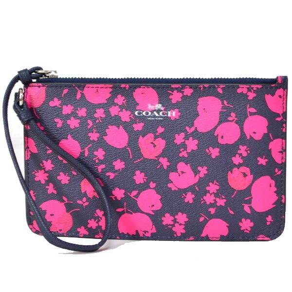 米菲客 COACH 季節限定商品 經典馬車LOGO設計 時尚花朵款 防水防刮皮革 手拿包 手機包(深藍)56025