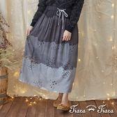 【Tiara Tiara】激安 雨點星星鬆緊腰綁帶半身裙(藍/黑)