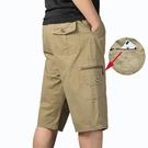 夏季中年男士七分短褲寬鬆休閒純棉爸爸裝老年父親大碼鬆緊腰中褲 黛尼時尚精品