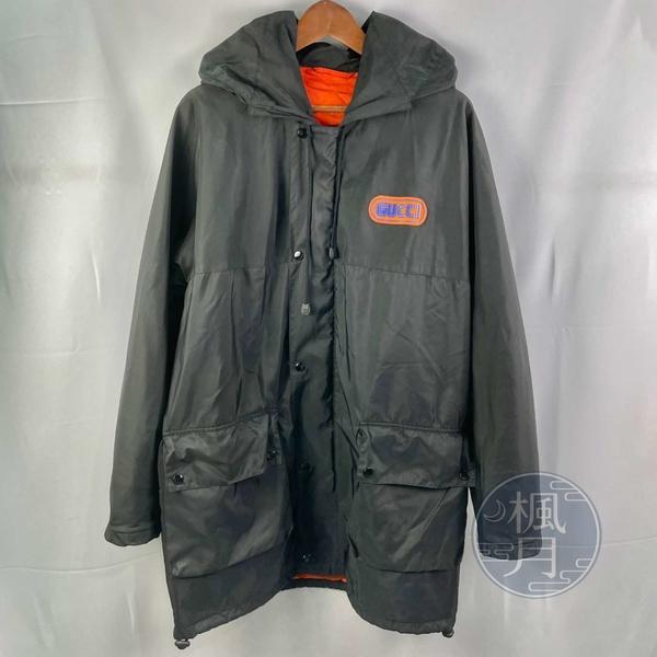 BRAND楓月 GUCCI 古馳 黑款亮橘撞色 尼龍材質 中版 風衣外套 連帽外套