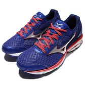 美津濃 Mizuno Wave Rider 19 2E Super Wide 寬楦頭 慢跑鞋 藍紅 男鞋【PUMP306】 J1GC160491