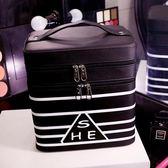 化妝箱 正韓雙層化妝包大容量專業化妝箱手提便攜防水收納盒大號