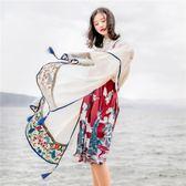 [百姓公館] 絲巾女夏季輕薄款防曬披肩民族風茶卡鹽湖圍巾紗巾