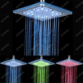 光療花灑 LED七彩噴頭 發光大花灑浴室頂噴8寸溫控三色淋浴淋雨噴頭玻璃 二度3C 99免運