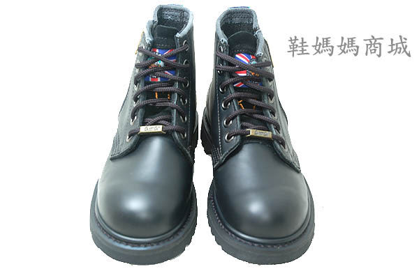 【鞋媽媽】[女]KIT防滑工作休閒鞋*黑色真皮6孔短靴*外側拉鍊*ae224