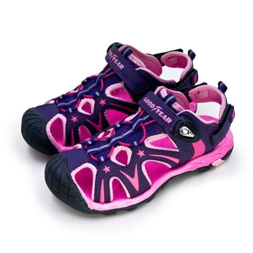 LIKA夢 GOODYEAR 固特異 18cm-23cm 多功能運動磁扣護趾涼鞋 迷幻星河系列 紫桃黑 88077 中童