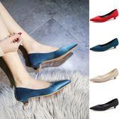 4色 高跟鞋 淺口細跟3cm 百搭日韓工作鞋低跟矮跟綢緞單鞋 巴黎時尚