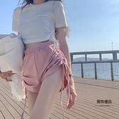 粉色抽繩休閒運動短褲女夏季寬松闊腿褲百搭高腰褲子【聚物優品】