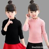 女童长袖睡衣 女童秋冬加厚加絨毛衣純色兒童棉線針織衫中大童打底黑色打底衫 瑪麗蘇