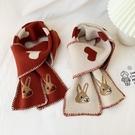 圍巾 秋冬季韓版保暖毛線針織圍巾冬天百搭愛心兔子學生短款小圍脖女潮 快速出貨
