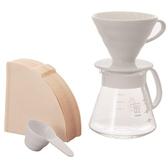 日本製【HARIO】V60白色02濾杯咖啡壺組600ml/XVDD-3012W