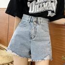 牛仔短褲2021年夏季新款破洞牛仔短褲女高腰寬鬆闊腿褲200斤大碼胖mm熱褲 愛丫 免運