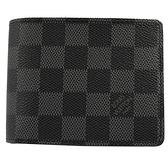 Louis Vuitton LV N62663 MULTIPLE 黑棋盤格雙折短夾 全新 現貨【茱麗葉精品】