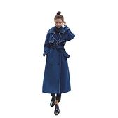 毛呢外套-長款雙排扣撞色包邊綁帶女大衣2色73zq34[巴黎精品]