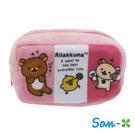 【日本進口正版】San-X 拉拉熊 粉紅款 棉質 長型 收納包 零錢包 懶懶熊 Rilakkuma - 430108