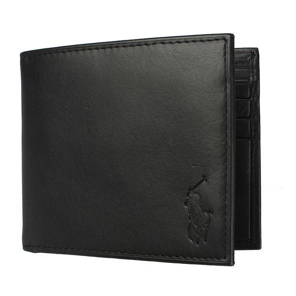 RALPH LAUREN POLO 經典壓印馬球LOGO素面皮革短夾(黑色)780215