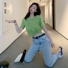 短板上衣 夏季新款性感短款露臍圓領T恤女交叉扭結短袖