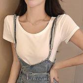 梨卡 - 韓版甜美純色百搭圓領短袖T恤素色短T BR299