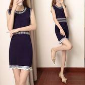 【GZ22】針織打底連身裙 新款針織連身裙女無袖收腰修身蝴蝶結撞色連身裙
