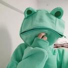 卡通青蛙頭加絨加厚連帽衛衣女男秋冬沙雕學生班服炸街上衣情侶潮 童趣潮品