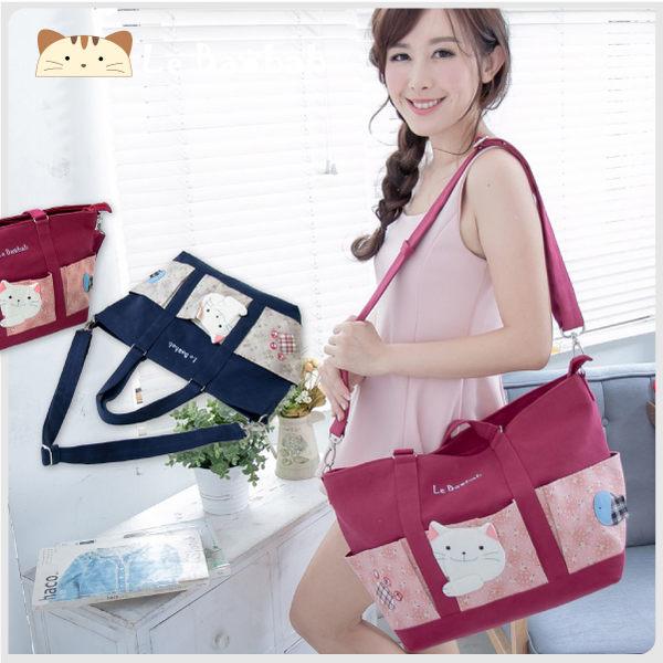側背包~啵啵貓日系貓咪包 啵啵貓旅行袋/肩背包/手提包/拼布包包