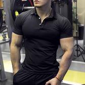 健身緊身衣翻領運動T恤彈力速干透氣修身跑步男女工服POLO衫